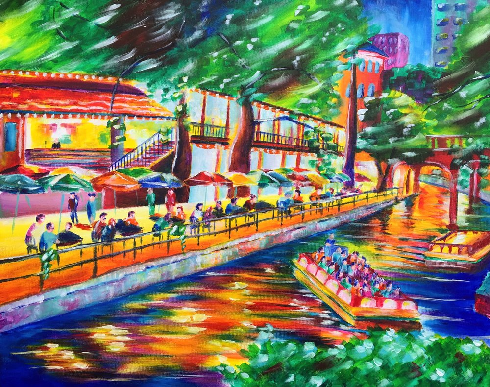 Night on the River - San Antonio Riverwalk Painting by Taylor Wise
