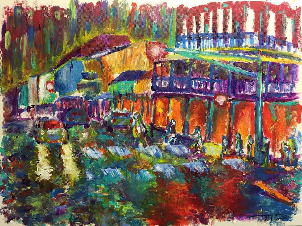 Evening on Bourbon Street - Painting of New Orleans Bourbon Street by Taylor Wise