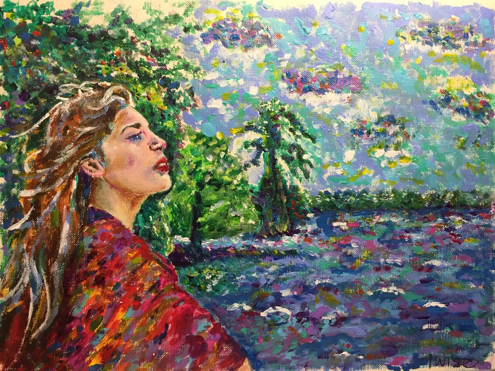 Weekend with Amanda - Painting of girl Impressionism by Taylor Wise