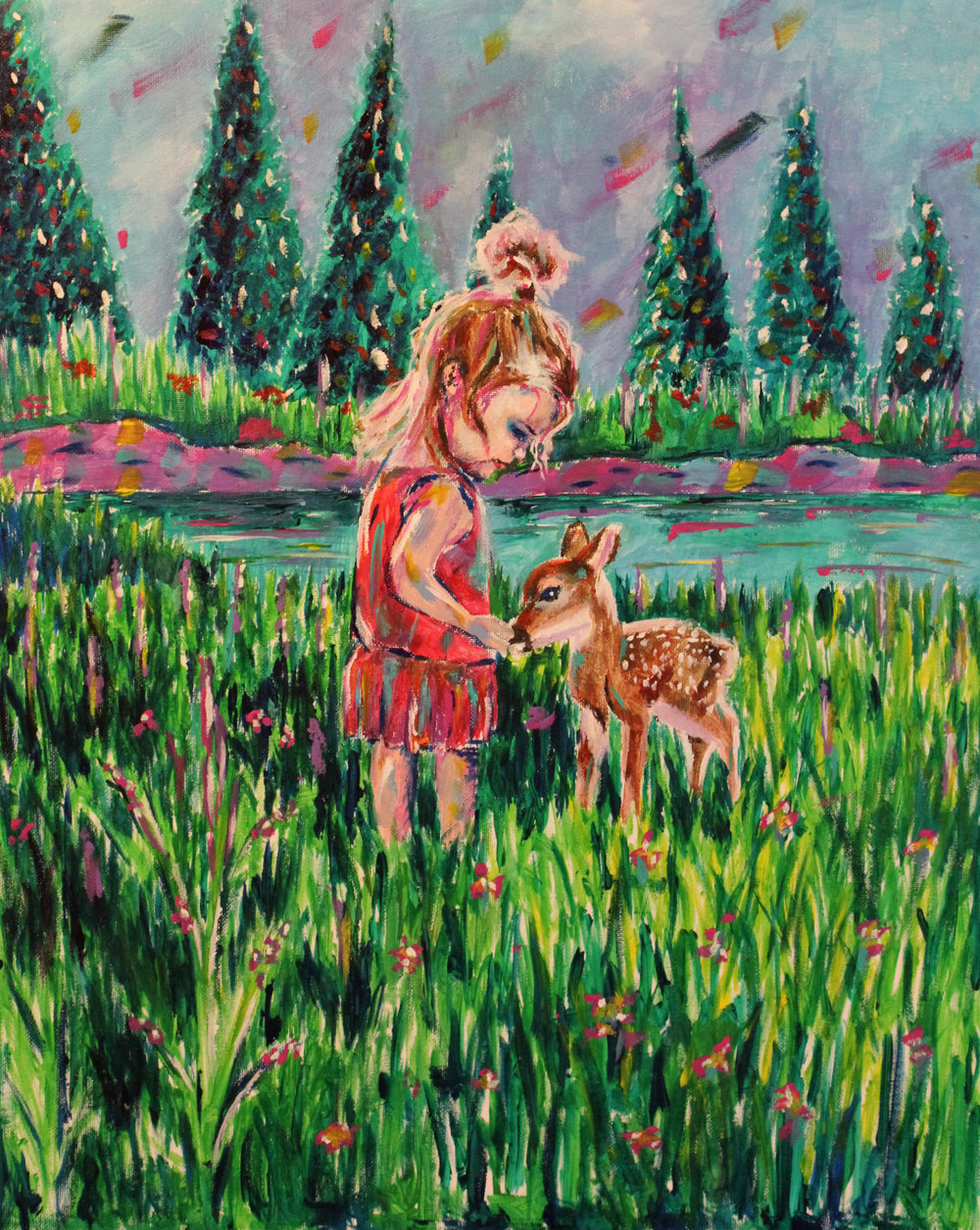 A Girl and Her Fawn - Painting of girl with Fawn by Taylor Wise