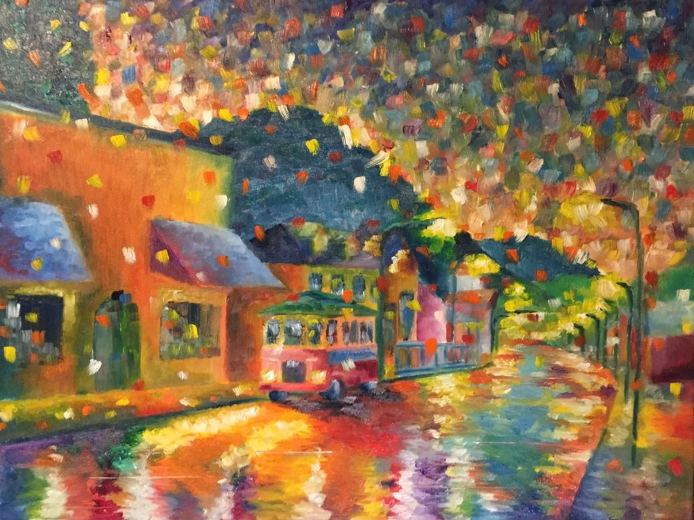 Tinsel Town - Painting of Spanish city by Taylor Wise