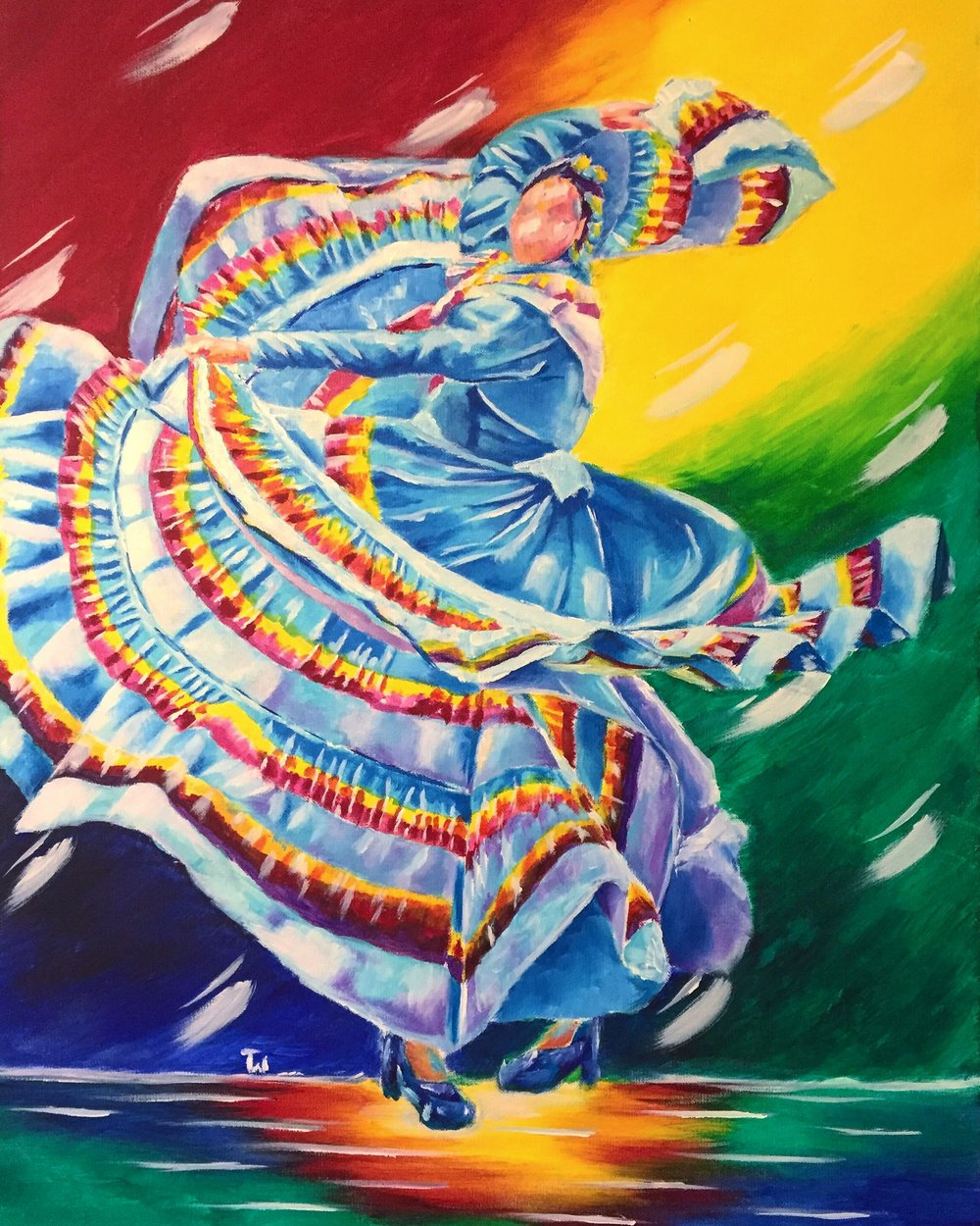 Chicana Movimiento - Painting of Folklorico Dancer 2 by Taylor Wise