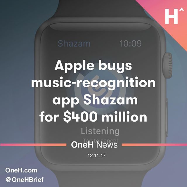 Apple(AAPL)confirmed Monday it is buying Shazam, a music recognition service that became an early favorite application of the smartphone era.  ____________________  Terms of the deal were not immediately disclosed. TechCrunch, which wasfirst to reportthe acquisition talks last week, pegged the price at around $400 million.  ____________________  At $400 million, Shazam would be one of Apple's largest acquisitions ever. Apple bought Beats Electronicsfor $3 billionin 2014 to kickstart its music streaming business and bought NeXT for about $400 million in 1996, bringing back former CEO Steve Jobs. But it still marks a disappointing financial outcome for Shazam. The startup, founded in 1999, was valued at $1 billion after its most recent funding round in 2015. Shazam has also frequently been rumored to be interested in going public.  ____________________  Nonetheless, the service continues to have broad appeal for anyone who finds themselves in a bar or house wondering what song is playing in the room. Shazamsaidlast year its app had been downloaded more than one billion times.