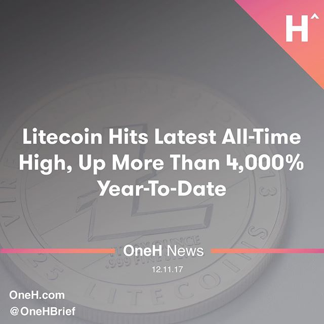 Litecoin reached a new record today,extending itsrecent gainsand increasing its year-to-date (YTD) returns to more than 4,000%. ____________________  The digital currency, which is a fork of digital sibling Bitcoin, rose to as much as $186.89.  ____________________  After starting out 2017 at $4.33, this latest high represented a YTD return of roughly 4,215%.