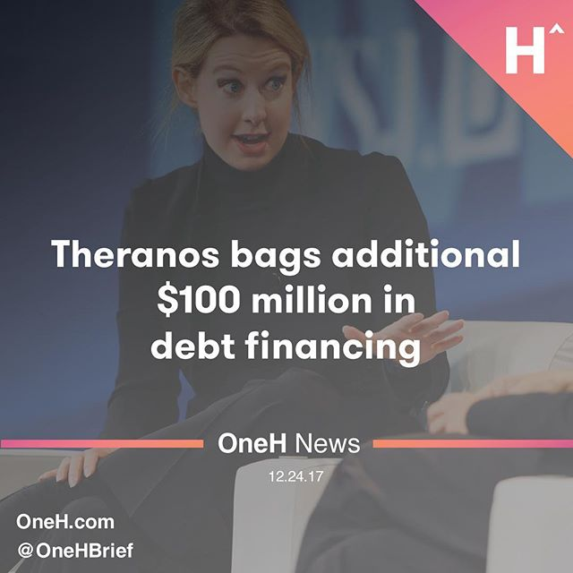 Surprisingly enough, Theranos has secured $100 million in debt financing.  ____________________  First reported byBusiness Insider, the company reportedly told investors it had secured the money fromFortress Investment Group, a New York-based private equity firm that wasacquiredby Softbank earlier this year.  ____________________  Of course, this is debt financing, not equity and Theranos will surely need it as it has beenbleeding money,laying offmore than half its workforcethis year and trying to come up with ways to keep it afloat.  ____________________  Theranos was a once Silicon Valley darling valued at over $9 billion for its promise to detect more than 200 diseases on a single drop of blood. But the company fell from grace after it was discovered it was giving patients faulty test results. Theranos soon faced several lawsuits and came under federal investigation. It's co-founder and CEO Elizabeth Holmes was barred from entering her own labs, the labs soon shut down and the company had to pivot — hard — to a disease detectingbox contraptioninstead.