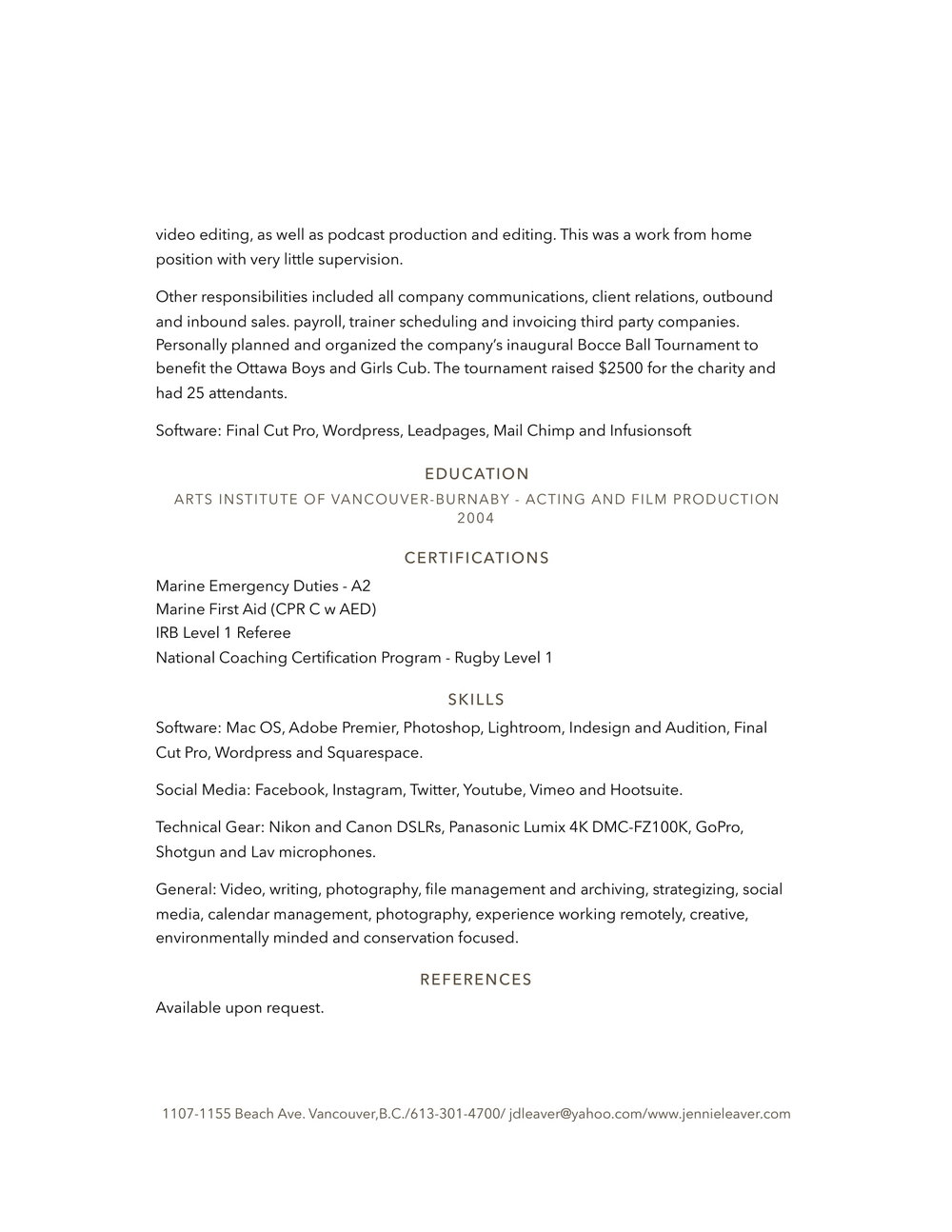 Resume/CV — Jennie Leaver