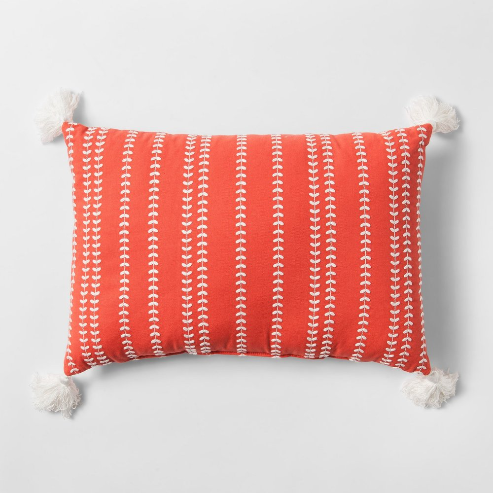 Target - Coral Embroidered Lumbar Pillow - Threshold™