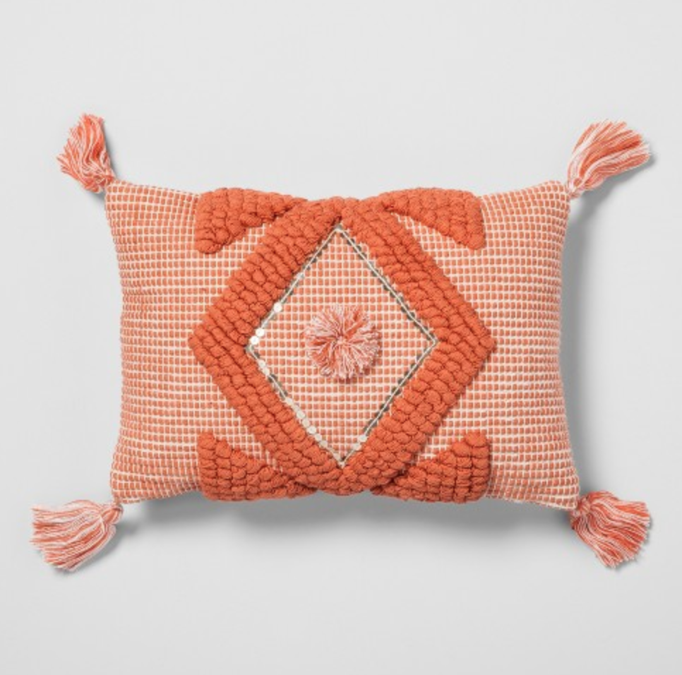 Target - Coral Diamond Tassel Throw Pillow - Opalhouse™