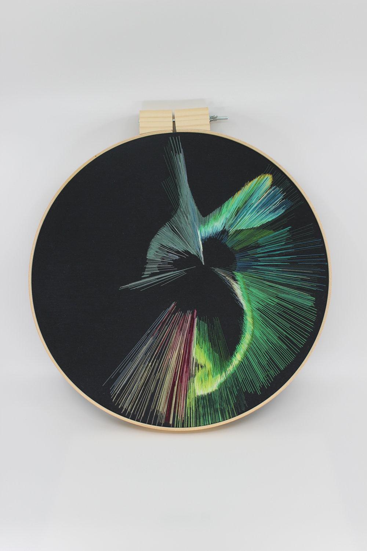 Hand embroidery on fabric / Bordado a mano sobre tela  Size: 14 inches / Medida: 35,56 cm  2018
