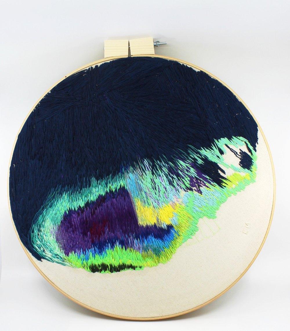 Hand embroidery on fabric / Bordado a mano sobre tela  Size: 18 inches / Medida: 45,72 cm  2018