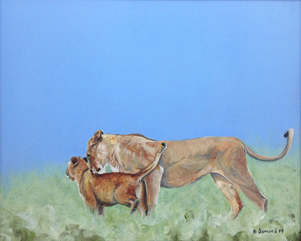 Mother Love  copyright Sarah Soward 2014. Lionesses are a favorite of Mrs. Stewart.