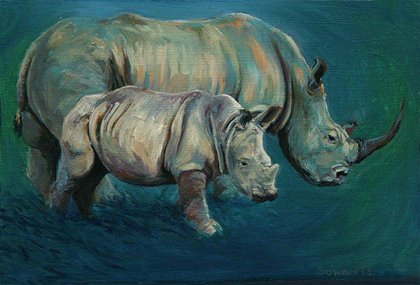 Two Rhinos  copyright Sarah Soward.