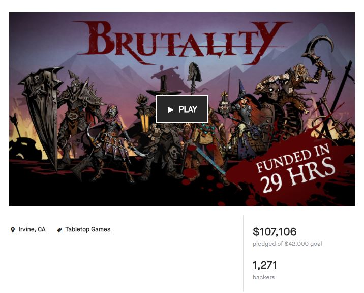 The Brutality Kickstarter  campaign ended yesterday. 107,106 dollars, 1,271 backers collected in 30 days. We smashed through 9 stretch goals and unlocked all the Hero figures. Hell. Yes.  Thanks to all our supporters for believing in the game. Next step, getting a bunch of awesome 3D art done to make these figures. We'll be updating our backers on the Kickstarter page, and providing updates here as well.