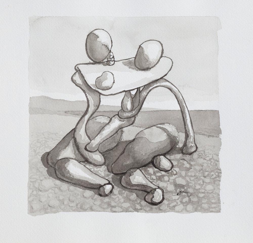 Couple yoked on a pebbly beach