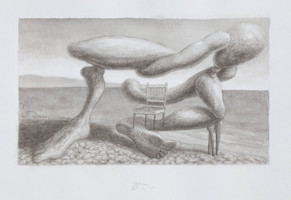 Figure reclining on a pebbly beach