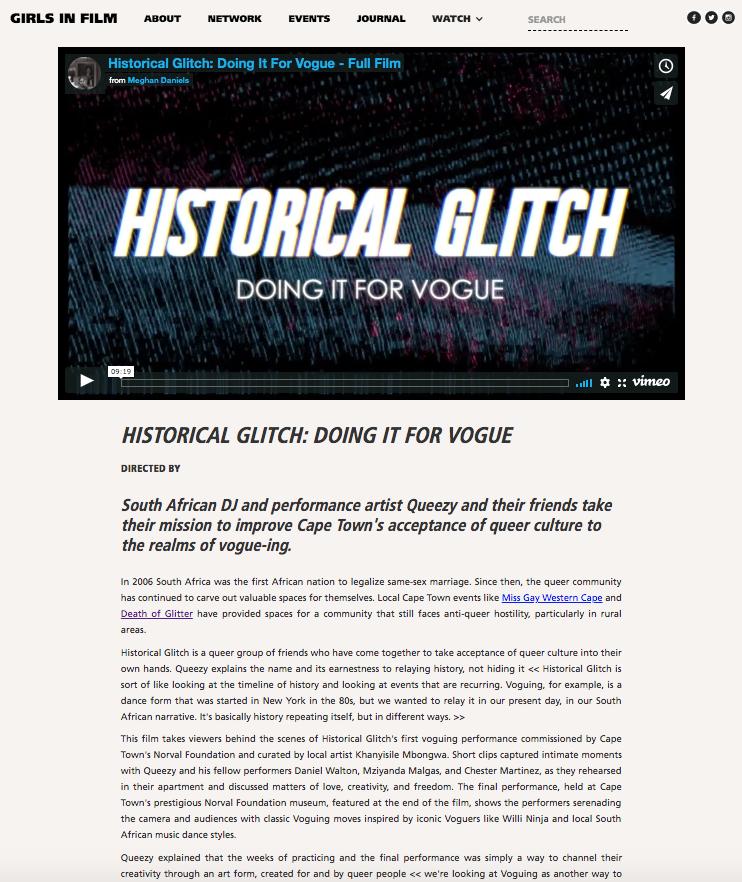 Historical Glitch for Girls in Film