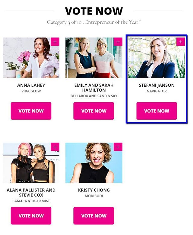 Ladies, we need your support! If you haven't voted yet, head to the Cosmopolitan website now to vote for Stefani or simply click the link in our bio — would be greatly appreciated! Also, don't forget to hit 'Enter Now' once you've voted in all 10 categories to submit your votes. Thanks for voting ❤️ #cosmopolitanaustralia #womenoftheyearawards