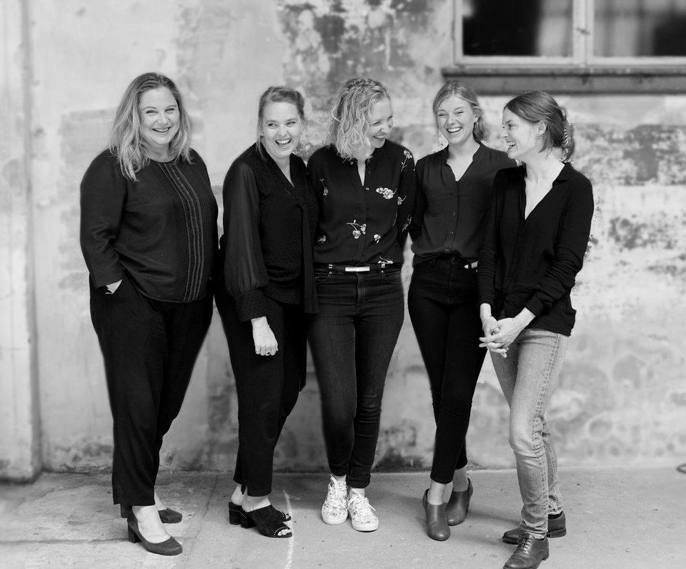 fem tilfredse kollegaer. Fra venstre ses Mai Rasmussen, Christine Svensson, Helle Vedø, Michala Mathiesen og Louise Folker