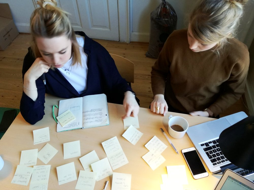 Christine og Michala brainstormer på aktiviteter til spillet