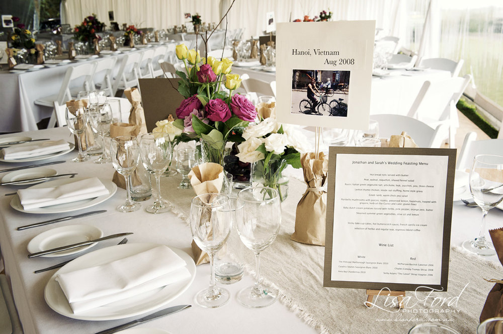 The Personalised Table Settings – Photo Lisa Ford Weddings