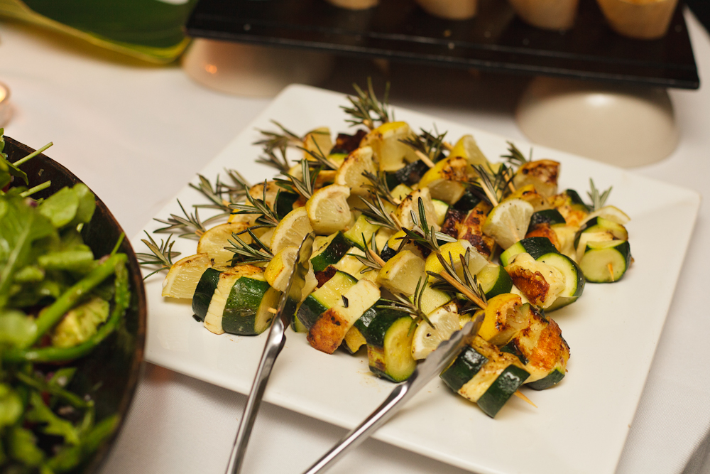 Grilled Haloumi, Zucchini and Caramelised Onions on Rosemary Skewers