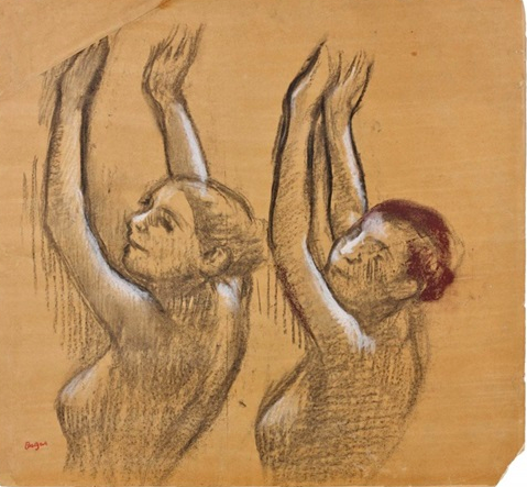 Edgar Degas (French, 1834–1917)  Deux danseuses vues en buste, les bras leves,  pencil on paper. 41 x 44 cm. (16.1 x 17.3 in.)