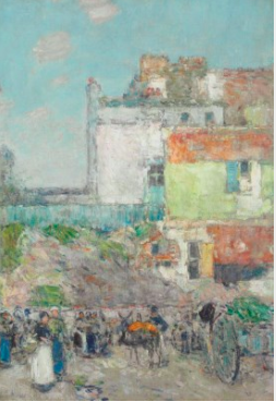 Childe Hassam (1859-1935), Marché St. Pierre, Montmartre signed and dated 'Childe Hassam 1888' with artist's crescent device (lower left), oil on canvas. 18 x 12½ in. (45.7 x 31.8 cm.)