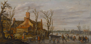 Winter Landscape with Skaters, Farm and Mill by   Jan Josephsz. van Goyen (1596 – 1656)