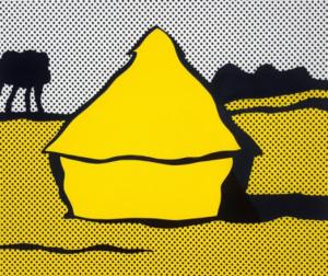 Roy Lichtenstein,  Haystack , screenprint in yellow and black, 1969