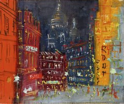 Jean Dufy (1888 – 1964),  Pigalle La Nuit , Huile sur toile, Signée en bas à droite, 38,5 x 46 cm
