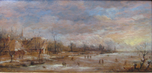 Peasants skating on a frozen river  by Aert Van der Neer