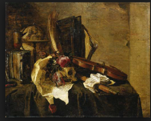 Jacques de Claeuw (active Dordrecht, The Hague, Leiden; d. after 1676)   A vanitas still life with a globe, books, a skull, a violin, a flute, a letter and flowers on a draped ledge