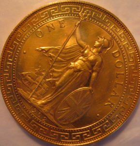 A British Colonial Proof Trade Dollar Coin, struck in gold (1902)