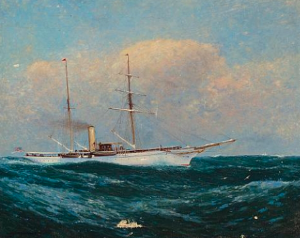 NYYC Steam-Sail Yacht at Sea  by Charlton T. Chapman