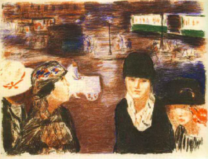 Pierre Bonnard,  Place Clichy , 1922, Lithograph printed in colour