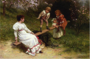 Frederick Morgan (1847-1927), The See-saw, signed 'Fred Morgan.' (lower right), oil on canvas, 24 ¾ x 37 in. (62.9 x 94 cm.)