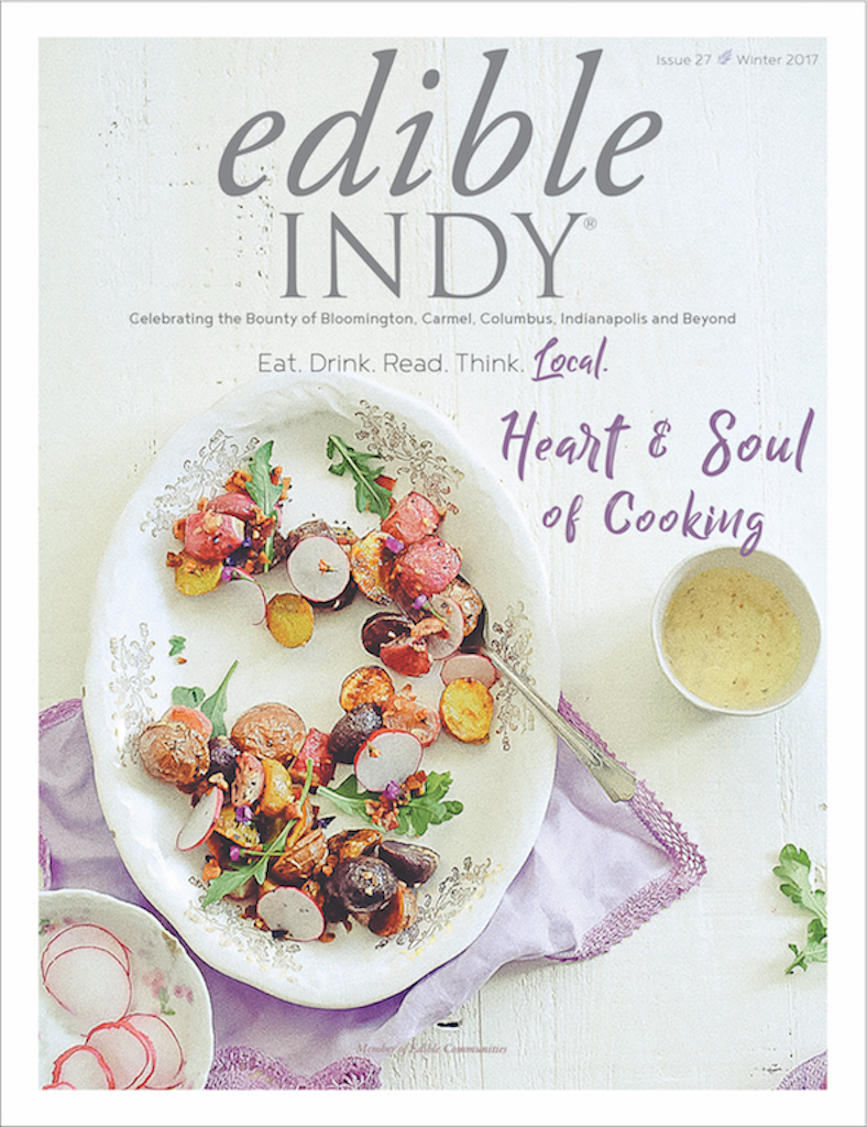 Edible Indy Magazine - Illustration, page layout, and bold design for a home-grown magazine in the Indiana community.