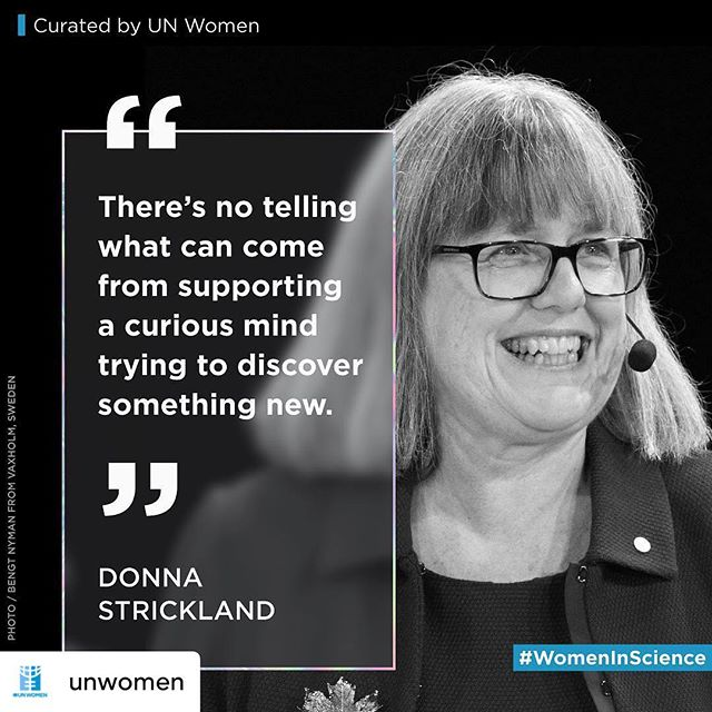 """It's #femenistfriday, and what better way to celebrate than this fantastic post from our 19th Women in Business Conference partner, @unwomen, featuring the inspirational Donna Strickland. . . #repost • @unwomen """"We need to celebrate women physicists because they're out there… I'm honoured to be one of those women,"""" said Donna Strickland, as she became the 3rd woman to win the Nobel Prize in physics, joining Marie Curie & Maria Goeppert. 👩🔬🥇 We need more #WomenInScience like her. @nobelprize_org"""