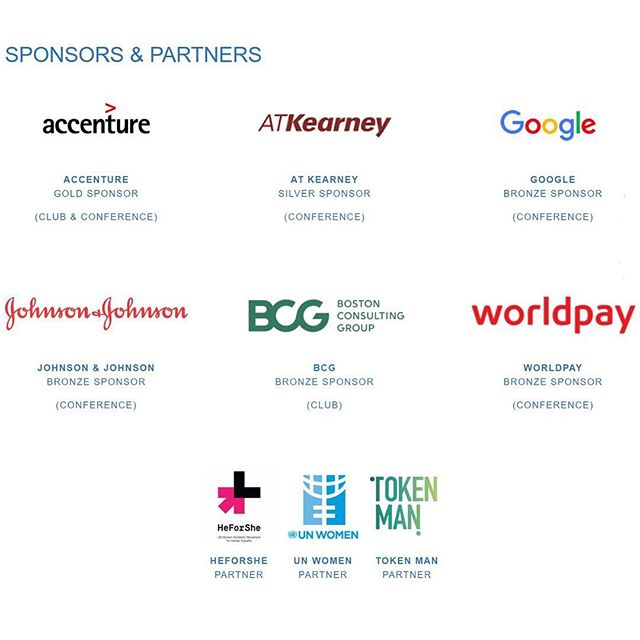 Have you seen our fantastic sponsors and partners for this year's LBS Women in Business Conference? Attendees will have the opportunity to attend panels, speeches and a cocktail networking session through the support and attendance of these leading organizations. Visit our link in bio for full agenda, details and tickets! 🙌🌟 @accenture @atkearneyinc @google @jnj @bcg @worldpay_us @heforshe @unwomen #tokenman . . . #diversity #equality #conference #sponsor #partner #london #uk #inspiration #inspo