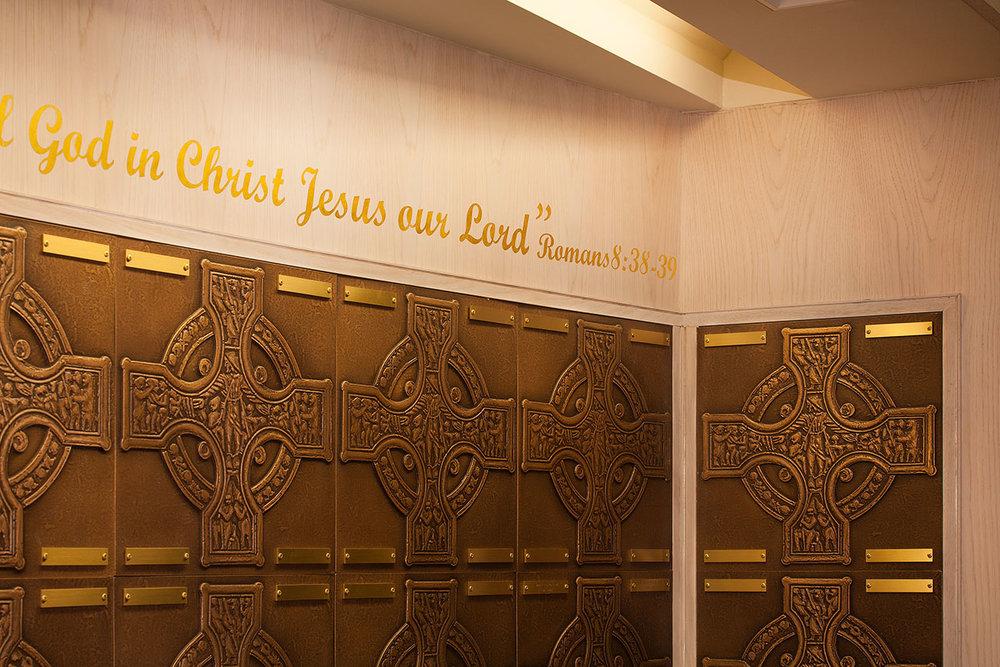 FAPC Columbarium - Celtic Crosses & Scripture Quote