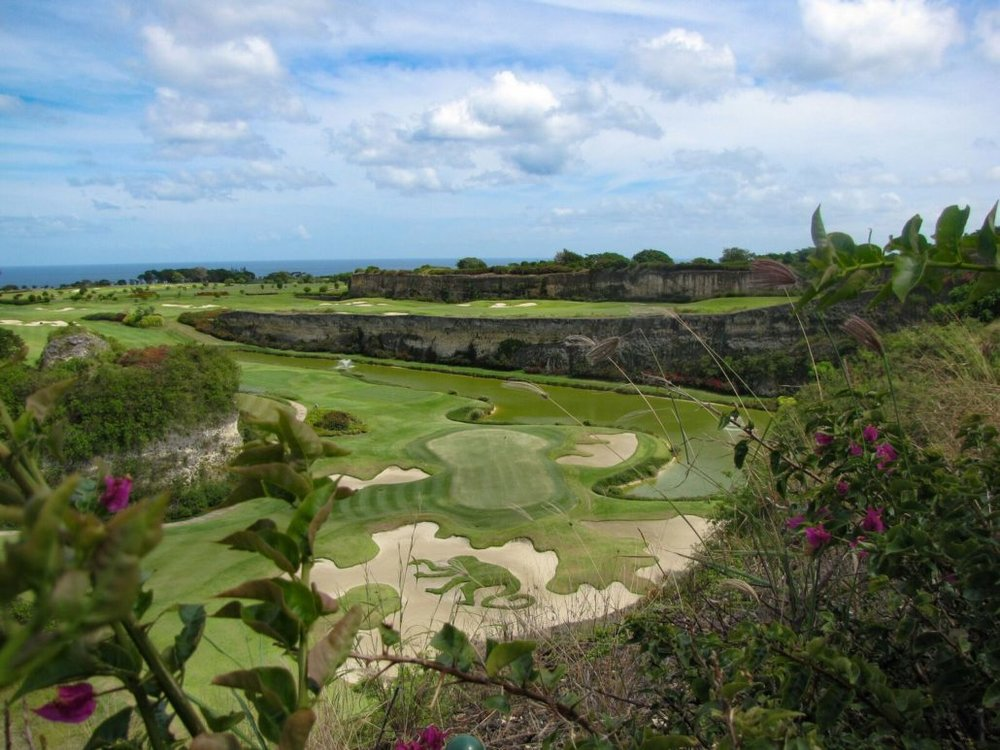 The Green Monkey is a terrific golf layout that's built around a former rock quarry. Not the monkey shape inside the sand trap!  JIM BYERS PHOTO