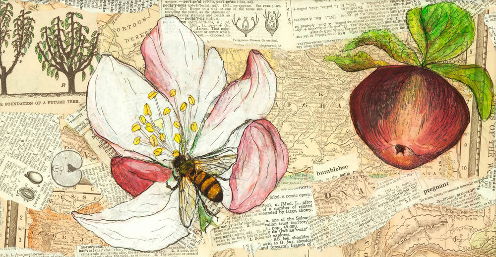 Ode to Apple Pollination , a collage I created in celebration of this miraculous act