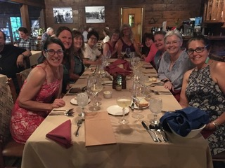 Workshop participants enjoying a four-course meal at the historic Orchard Canyon Lodge