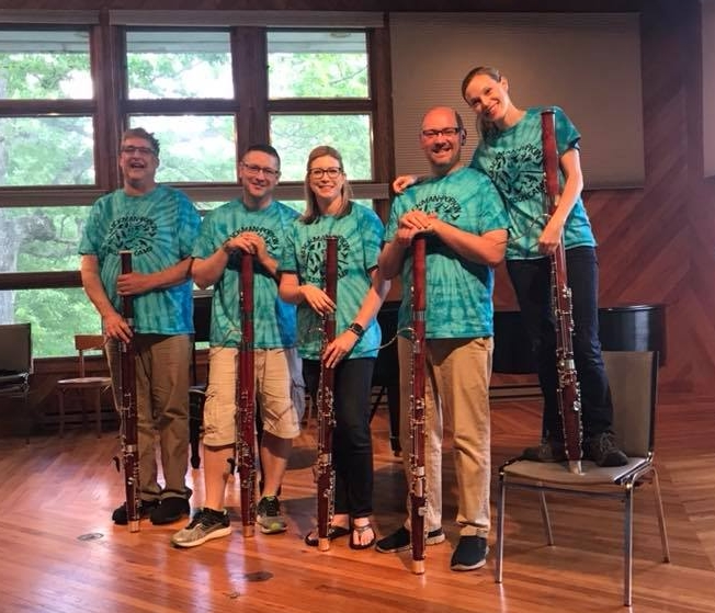 Glickman Popkin Bassoon Camp friends (L to R) Rob Schmidtke (Red Wing, MN), Eric, Ann Shoemaker (Baylor University), Jefferson Campbell (University of Minnesota-Duluth), and Sasha Enegren (Montclair State University).