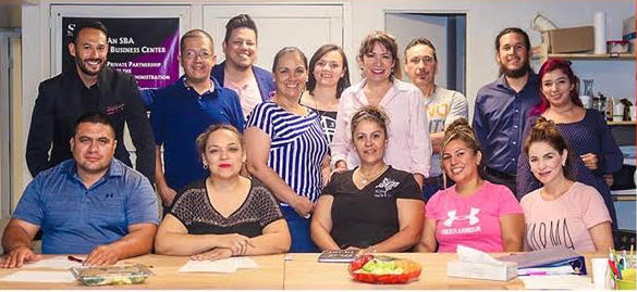 Fuerza Local Business Accelerator Program Students in Tucson, Arizona with Hector Treto and Paul Mendoza of Vib'n.