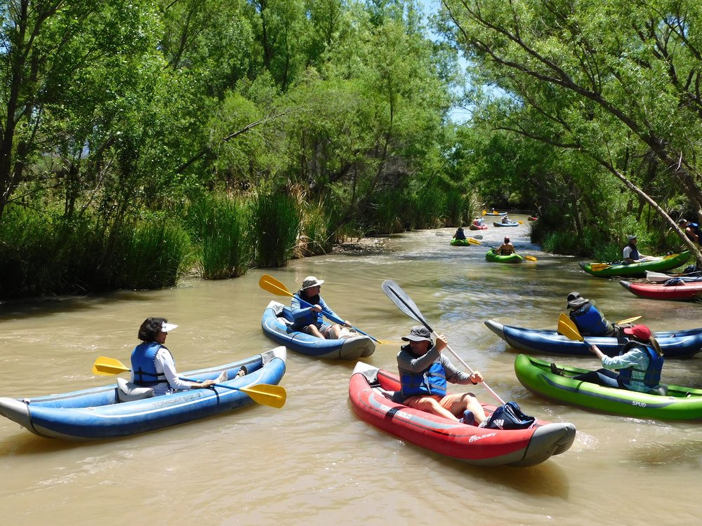 WeekendZona travelers kayaking the Verde River in Camp Verde in May 2018.