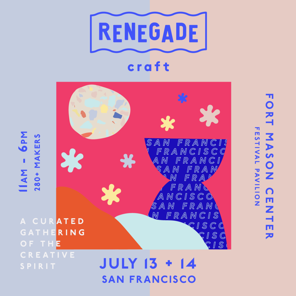 Join us for Renegade San Francisco: a sunny summer marketplace at Fort Mason Center Festival Pavilion. Sip on a craft cocktail as you shop from the country's 280+ foremost Makers and Designers, groove to vinyl DJ sets, workshop, and enjoy bites from local food trucks.