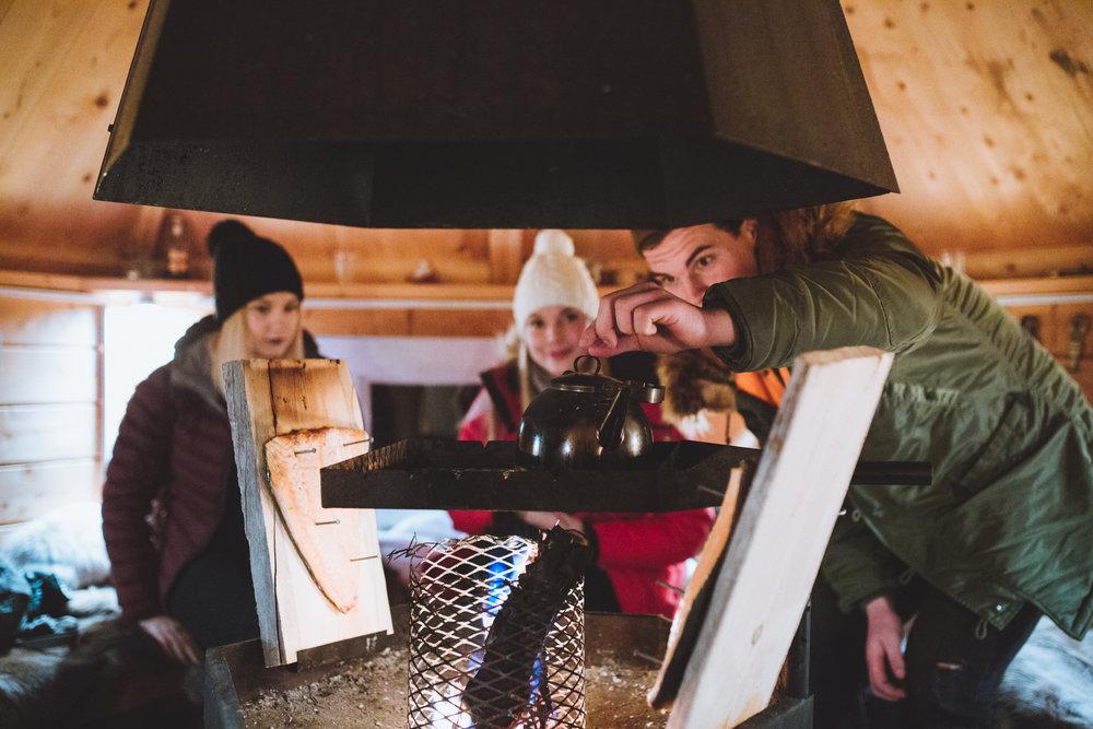 Making food at the warm hut