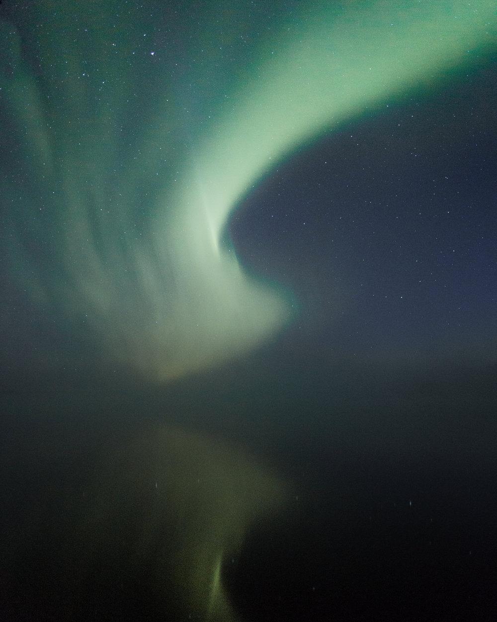 Aurora Borealis above the lake