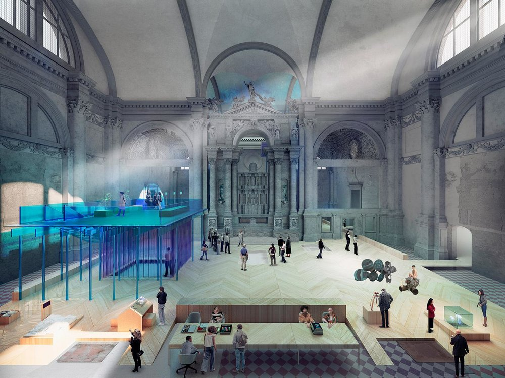 Rendering of Ocean Space, in Venice's Church of San Lorenzo. Designed by the Office for Political Innovation, the first phase of the project opened in March 2019. Courtesy of Andrés Jaque and Office for Political Innovation